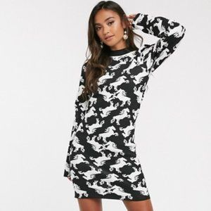 Horse jaquard knit mini dress